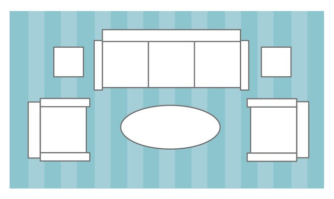 راهنماي انتخاب سايز مناسب فرش براي اتاق نشيمن